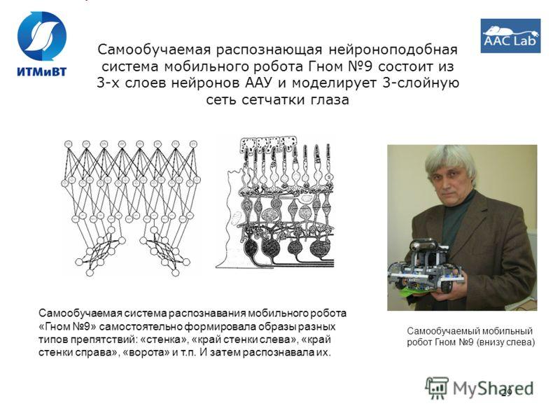 29 Самообучаемая распознающая нейроноподобная система мобильного робота Гном 9 состоит из 3-х слоев нейронов ААУ и моделирует 3-слойную сеть сетчатки глаза Самообучаемая система распознавания мобильного робота «Гном 9» самостоятельно формировала обра