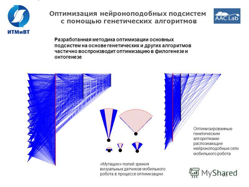 33 Оптимизация нейроноподобных подсистем с помощью генетических алгоритмов Разработанная методика оптимизации основных подсистем на основе генетических и других алгоритмов частично воспроизводит оптимизацию в филогенезе и онтогенезе «Мутации» полей з