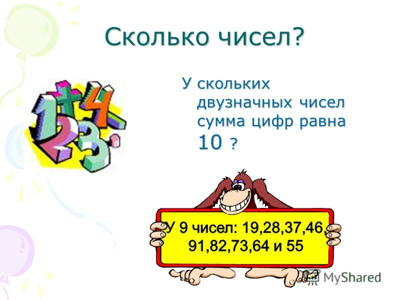 Сколько чисел? Сколько чисел? У скольких двузначных чисел сумма цифр равна 10 ?