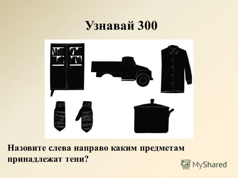 Узнавай 300 Назовите слева направо каким предметам принадлежат тени?