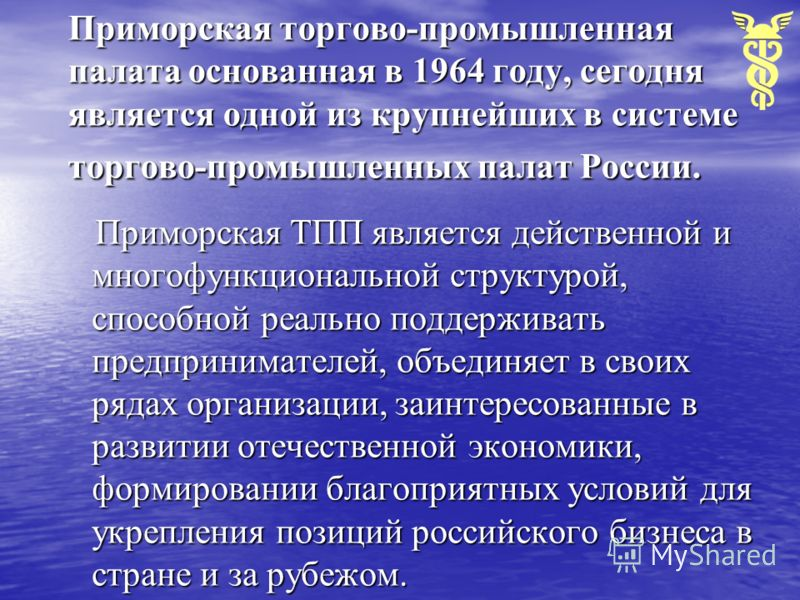 Приморская торгово-промышленная палата основанная в 1964 году, сегодня является одной из крупнейших в системе торгово-промышленных палат России. Приморская ТПП является действенной и многофункциональной структурой, способной реально поддерживать пред
