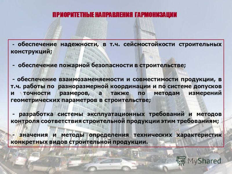 - обеспечение надежности, в т.ч. сейсмостойкости строительных конструкций; - обеспечение пожарной безопасности в строительстве; - обеспечение взаимозаменяемости и совместимости продукции, в т.ч. работы по разноразмерной координации и по системе допус