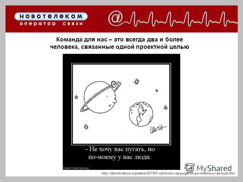 Команда для нас – это всегда два и более человека, связанные одной проектной целью http://demotivators.ru/posters/527397/-ne-hochu-vas-pugat-no-po-moemu-u-vas-lyudi.htm