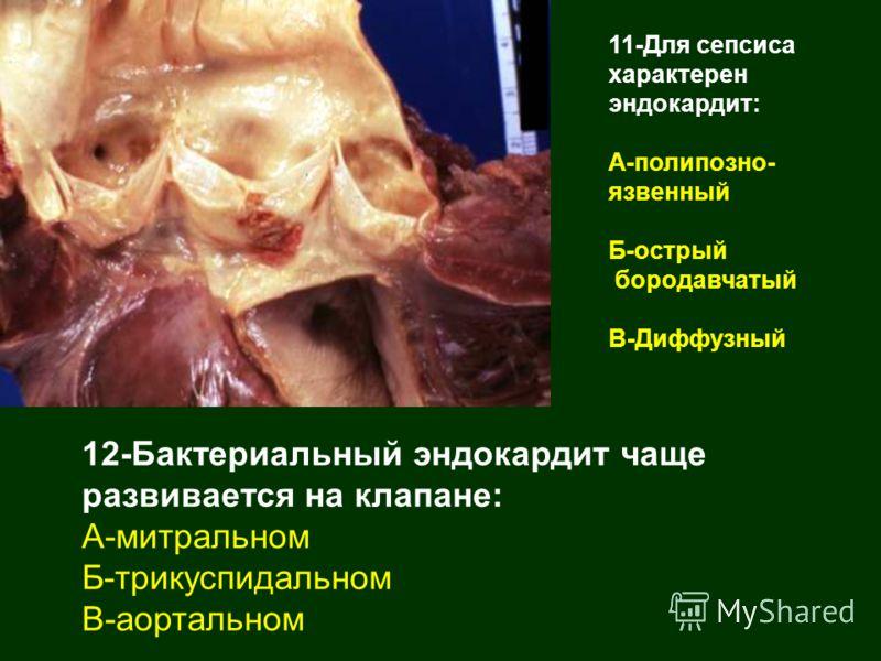 12-Бактериальный эндокардит чаще развивается на клапане: А-митральном Б-трикуспидальном В-аортальном 11-Для сепсиса характерен эндокардит: А-полипозно- язвенный Б-острый бородавчатый В-Диффузный