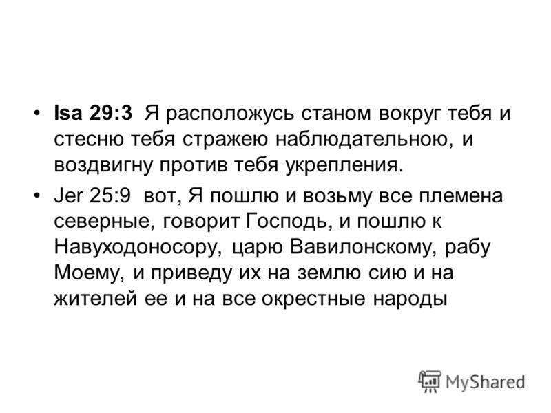 Isa 29:3 Я расположусь станом вокруг тебя и стесню тебя стражею наблюдательною, и воздвигну против тебя укрепления. Jer 25:9 вот, Я пошлю и возьму все племена северные, говорит Господь, и пошлю к Навуходоносору, царю Вавилонскому, рабу Моему, и приве
