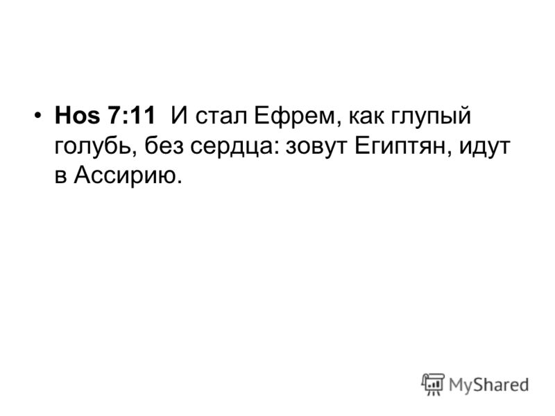 Hos 7:11 И стал Ефрем, как глупый голубь, без сердца: зовут Египтян, идут в Ассирию.