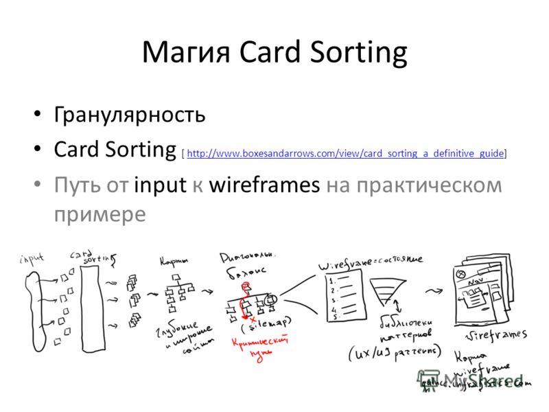 Магия Card Sorting Гранулярность Card Sorting [ http://www.boxesandarrows.com/view/card_sorting_a_definitive_guide]http://www.boxesandarrows.com/view/card_sorting_a_definitive_guide Путь от input к wireframes на практическом примере