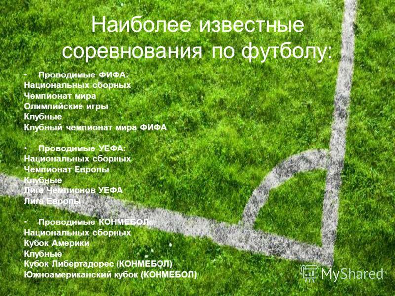 Наиболее известные соревнования по футболу: Проводимые ФИФА: Национальных сборных Чемпионат мира Олимпийские игры Клубные Клубный чемпионат мира ФИФА Проводимые УЕФА: Национальных сборных Чемпионат Европы Клубные Лига Чемпионов УЕФА Лига Европы Прово