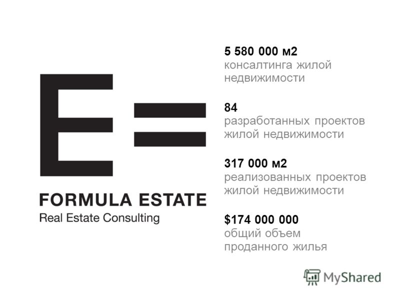 5 580 000 м2 консалтинга жилой недвижимости 84 разработанных проектов жилой недвижимости 317 000 м2 реализованных проектов жилой недвижимости $174 000 000 общий объем проданного жилья