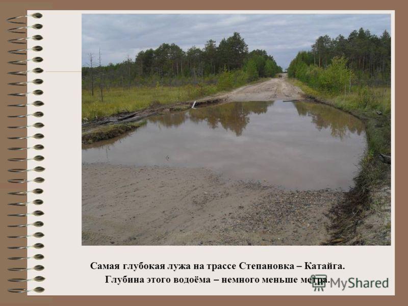 Самая глубокая лужа на трассе Степановка – Катайга. Глубина этого водоёма – немного меньше метра.