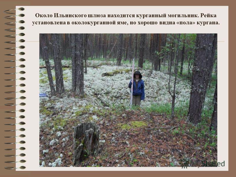 Около Ильинского шлюза находится курганный могильник. Рейка установлена в околокурганной яме, но хорошо видна «пола» кургана.