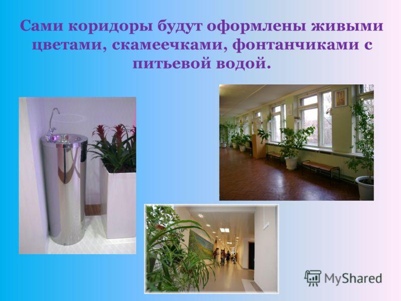 Сами коридоры будут оформлены живыми цветами, скамеечками, фонтанчиками с питьевой водой.