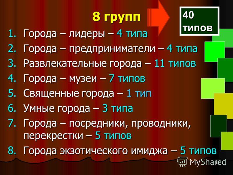 13 8 групп 1.Города – лидеры – 4 типа 2.Города – предприниматели – 4 типа 3.Развлекательные города – 11 типов 4.Города – музеи – 7 типов 5.Священные города – 1 тип 6.Умные города – 3 типа 7.Города – посредники, проводники, перекрестки – 5 типов 8.Гор
