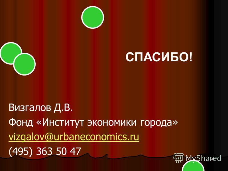 36 Визгалов Д.В. Фонд «Институт экономики города» vizgalov@urbaneconomics.ru (495) 363 50 47 СПАСИБО!