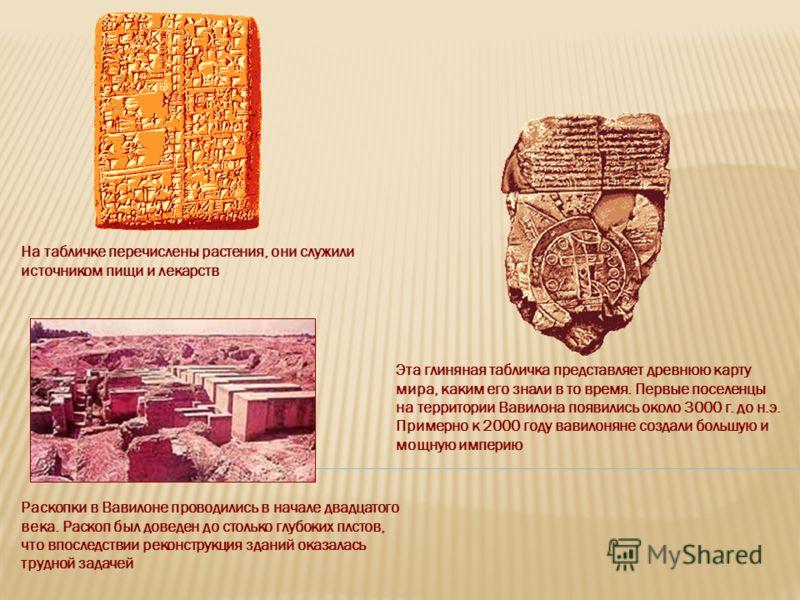 Раскопки в Вавилоне проводились в начале двадцатого века. Раскоп был доведен до столько глубоких плстов, что впоследствии реконструкция зданий оказалась трудной задачей На табличке перечислены растения, они служили источником пищи и лекарств Эта глин