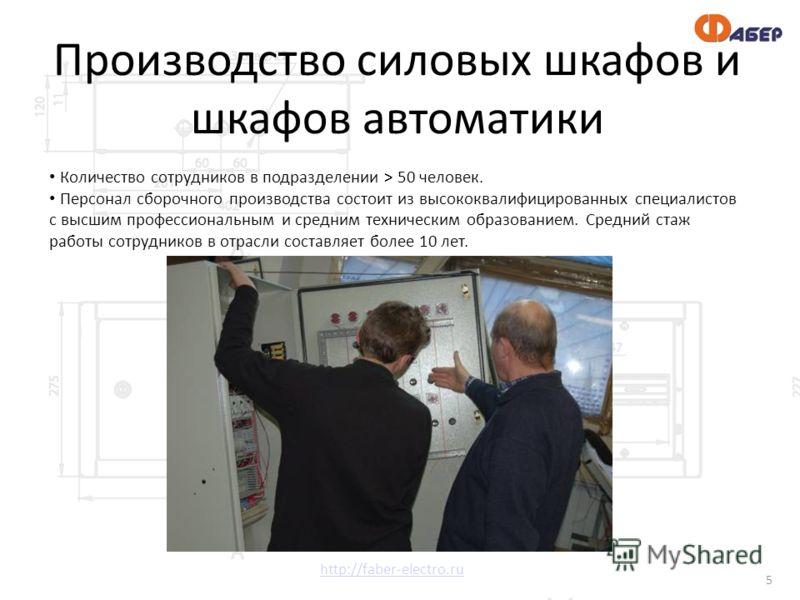 http://faber-electro.ru 5 Количество сотрудников в подразделении > 50 человек. Персонал сборочного производства состоит из высококвалифицированных специалистов с высшим профессиональным и средним техническим образованием. Средний стаж работы сотрудни
