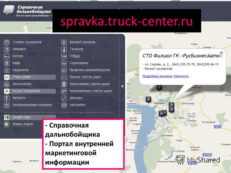 spravka.truck-center.ru - Справочная дальнобойщика - Портал внутренней маркетинговой информации 53