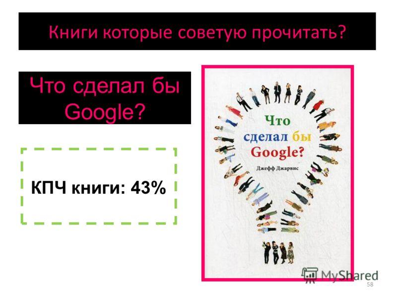 Что сделал бы Google? КПЧ книги: 43% 58 Книги которые советую прочитать?