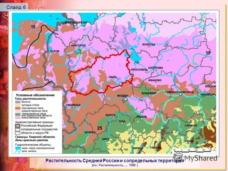 Растительность Средней России и сопредельных территорий (по: Растительность…, 1980 ) Слайд 6