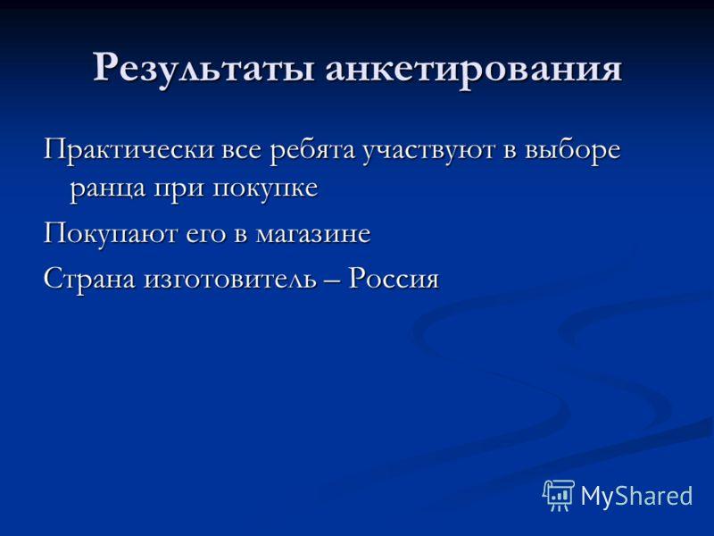 Результаты анкетирования Практически все ребята участвуют в выборе ранца при покупке Покупают его в магазине Страна изготовитель – Россия