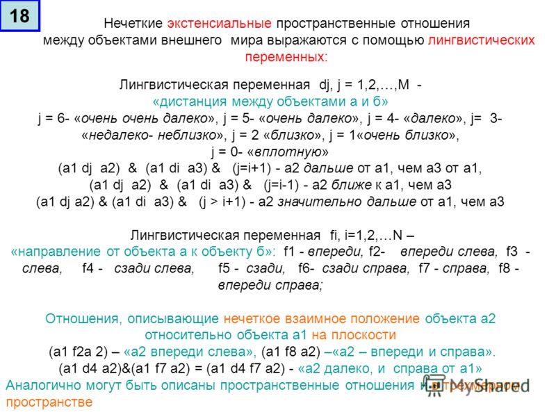 Лингвистическая переменная dj, j = 1,2,…,M - «дистанция между объектами а и б» j = 6- «очень очень далеко», j = 5- «очень далеко», j = 4- «далеко», j= 3- «недалеко- неблизко», j = 2 «близко», j = 1«очень близко», j = 0- «вплотную» (а1 dj а2) & (а1 di