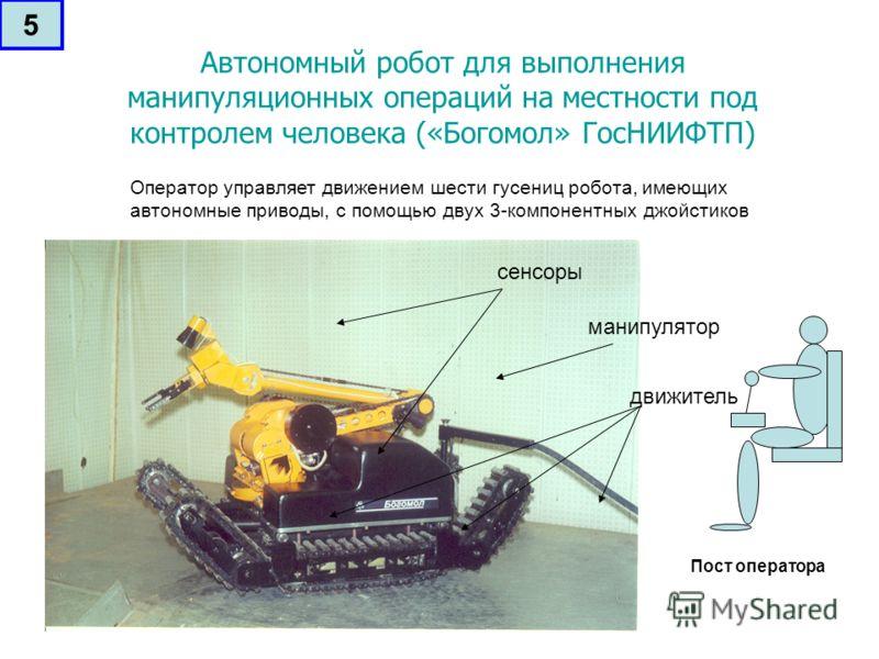 Автономный робот для выполнения манипуляционных операций на местности под контролем человека («Богомол» ГосНИИФТП) сенсоры манипулятор движитель Оператор управляет движением шести гусениц робота, имеющих автономные приводы, с помощью двух 3-компонент