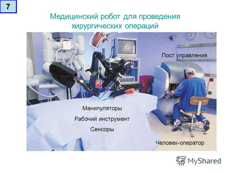 Медицинский робот для проведения хирургических операций Манипуляторы Рабочий инструмент Сенсоры Пост управления Человек-оператор 7
