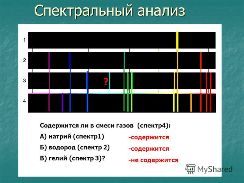 Спектральный анализ ? Содержится ли в смеси газов (спектр4): А) натрий (спектр1) Б) водород (спектр 2) В) гелий (спектр 3)? -содержится -не содержится