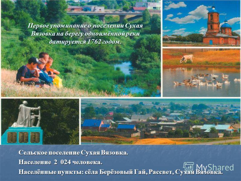 Первое упоминание о поселении Сухая Вязовка на берегу одноимённой реки датируется 1762 годом. Сельское поселение Сухая Вязовка. Население 2 024 человека. Населённые пункты: сёла Берёзовый Гай, Рассвет, Сухая Вязовка.