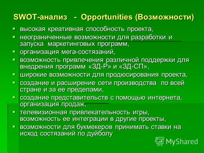SWOT-анализ - Opportunities (Возможности) высокая креативная способность проекта, высокая креативная способность проекта, неограниченные возможности для разработки и запуска маркетинговых программ, неограниченные возможности для разработки и запуска