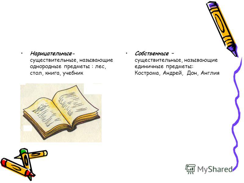 Нарицательные- существительные, называющие однородные предметы : лес, стол, книга, учебник Собственные – существительные, называющие единичные предметы: Кострома, Андрей, Дон, Англия