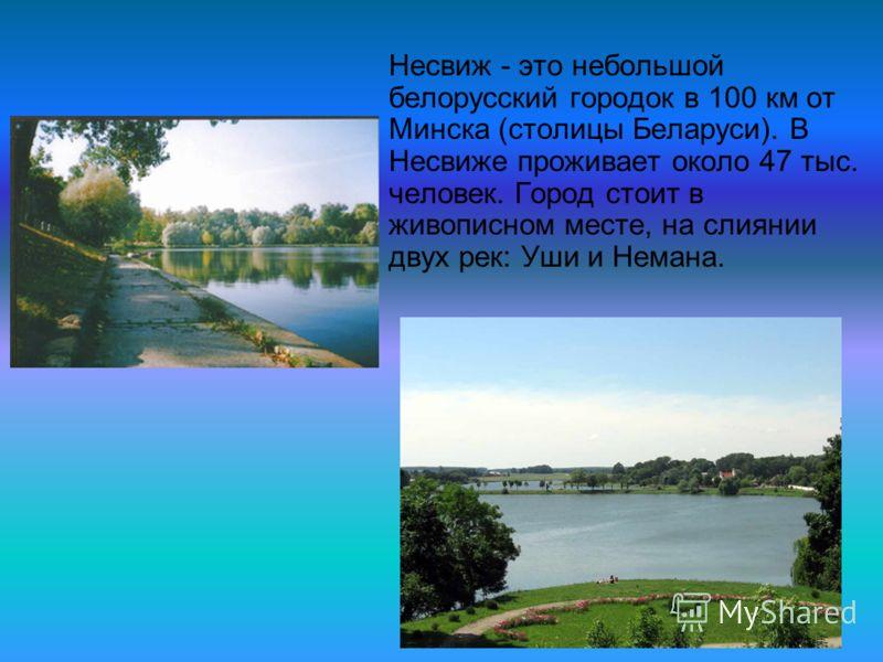 Несвиж - это небольшой белорусский городок в 100 км от Минска (столицы Беларуси). В Несвиже проживает около 47 тыс. человек. Город стоит в живописном месте, на слиянии двух рек: Уши и Немана.