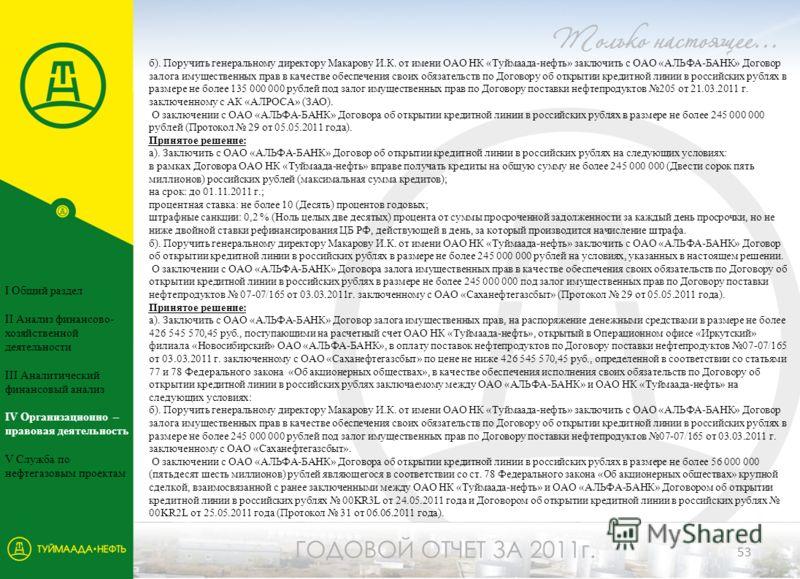 б). Поручить генеральному директору Макарову И.К. от имени ОАО НК «Туймаада-нефть» заключить с ОАО «АЛЬФА-БАНК» Договор залога имущественных прав в качестве обеспечения своих обязательств по Договору об открытии кредитной линии в российских рублях в