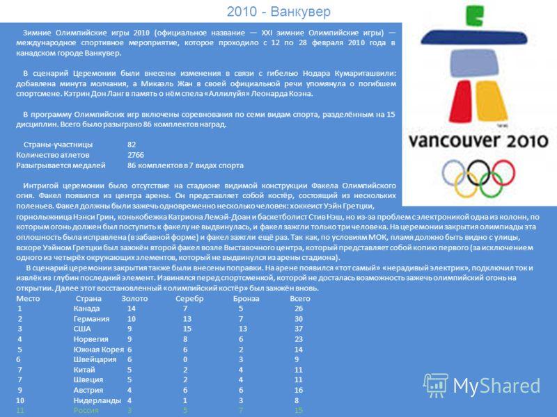 2010 - Ванкувер Зимние Олимпийские игры 2010 (официальное название XXI зимние Олимпийские игры) международное спортивное мероприятие, которое проходило с 12 по 28 февраля 2010 года в канадском городе Ванкувер. В сценарий Церемонии были внесены измене