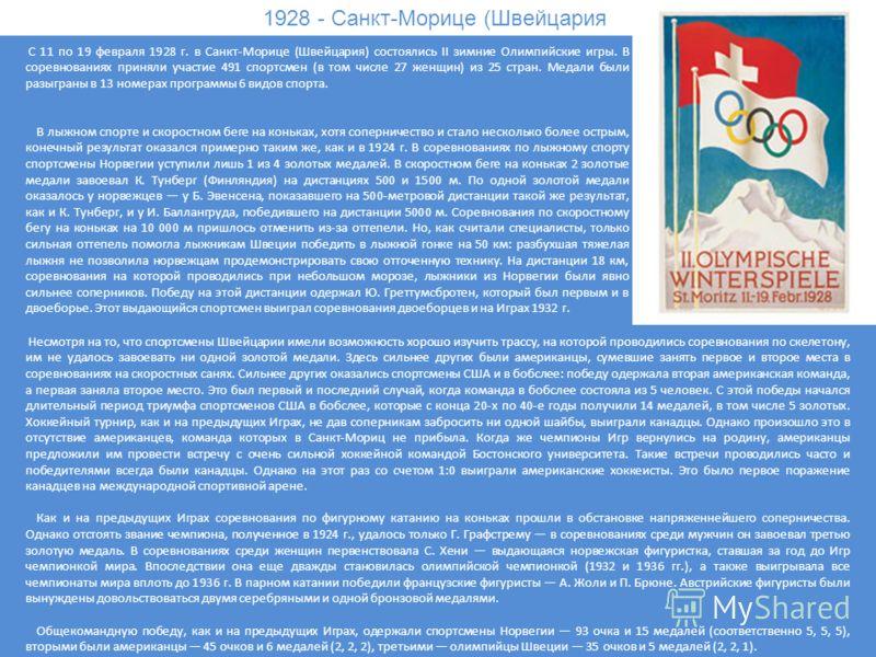 1928 - Санкт-Морице (Швейцария) С 11 по 19 февраля 1928 г. в Санкт-Морице (Швейцария) состоялись II зимние Олимпийские игры. В соревнованиях приняли участие 491 спортсмен (в том числе 27 женщин) из 25 стран. Медали были разыграны в 13 номерах програм