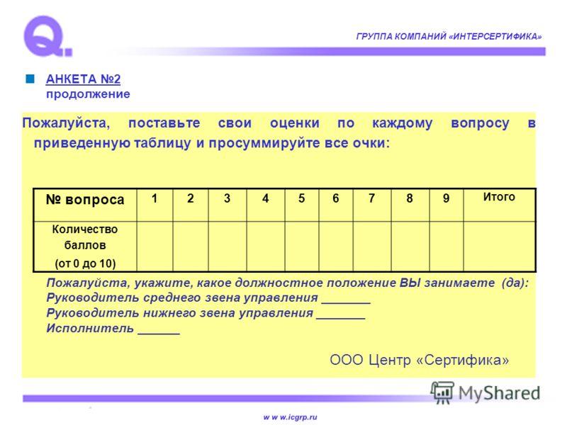 w w w.icgrp.ru ГРУППА КОМПАНИЙ «ИНТЕРСЕРТИФИКА» АНКЕТА 2 продолжение Пожалуйста, поставьте свои оценки по каждому вопросу в приведенную таблицу и просуммируйте все очки: вопроса 123456789 Итого Количество баллов (от 0 до 10) Пожалуйста, укажите, како