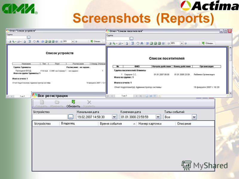 Screenshots (Reports)