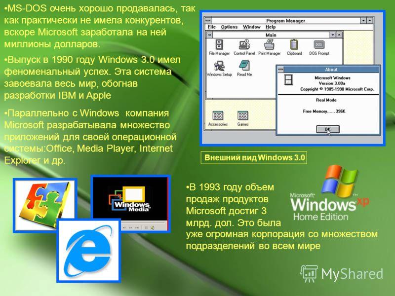 MS-DOS очень хорошо продавалась, так как практически не имела конкурентов, вскоре Microsoft заработала на ней миллионы долларов. Выпуск в 1990 году Windows 3.0 имел феноменальный успех. Эта система завоевала весь мир, обогнав разработки IBM и Apple П