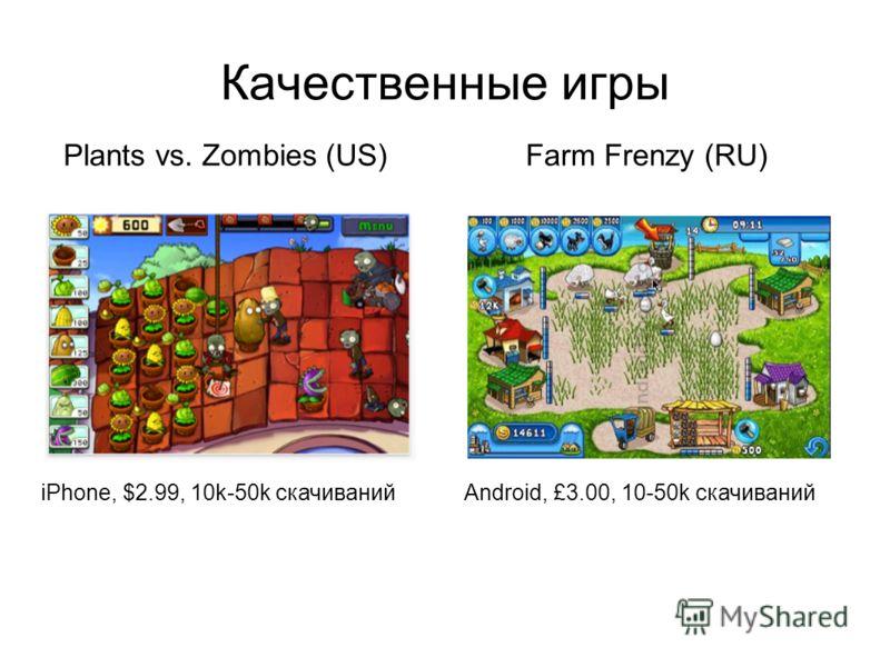 Качественные игры iPhone, $2.99, 10k-50k скачиванийAndroid, £3.00, 10-50k скачиваний Plants vs. Zombies (US)Farm Frenzy (RU)
