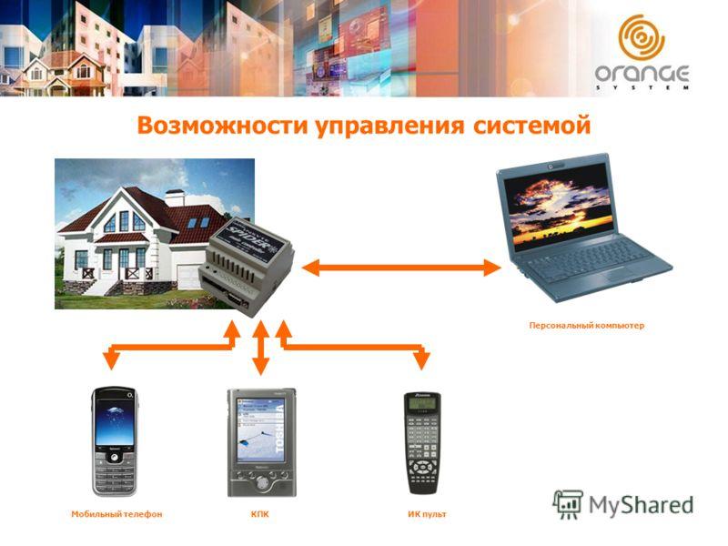 Возможности управления системой Персональный компьютер ИК пультКПКМобильный телефон
