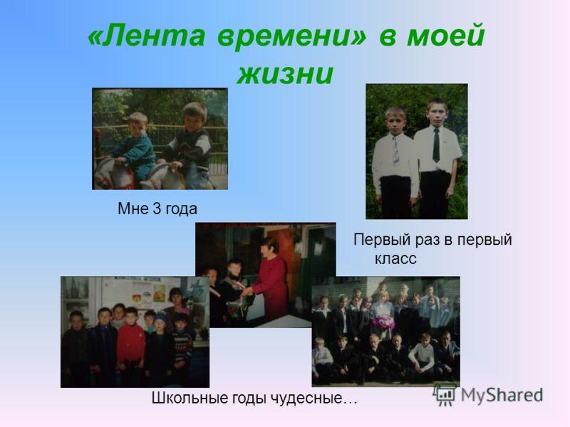 «Лента времени» в моей жизни Мне 3 года Первый раз в первый класс Школьные годы чудесные…