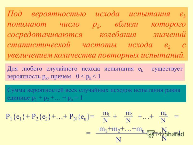Под вероятностью исхода испытания e k понимают число p k, вблизи которого сосредотачиваются колебания значений статистической частоты исхода e k с увеличением количества повторных испытаний. Для любого случайного исхода испытания e k существует вероя