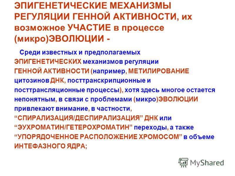 ЭПИГЕНЕТИЧЕСКИЕ МЕХАНИЗМЫ РЕГУЛЯЦИИ ГЕННОЙ АКТИВНОСТИ, их возможное УЧАСТИЕ в процессе (микро)ЭВОЛЮЦИИ - Среди известных и предполагаемых ЭПИГЕНЕТИЧЕСКИХ механизмов регуляции ГЕННОЙ АКТИВНОСТИ (например, МЕТИЛИРОВАНИЕ цитозинов ДНК, посттранскрипцион