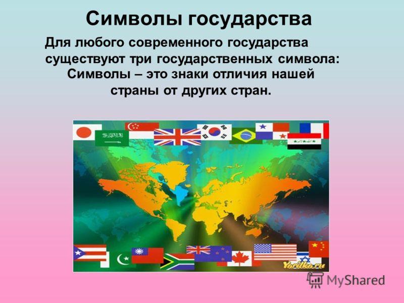 Символы государства Для любого современного государства существуют три государственных символа: Символы – это знаки отличия нашей страны от других стран.