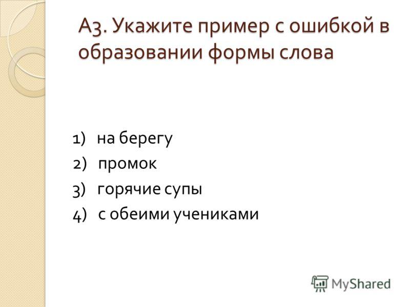 А 3. Укажите пример с ошибкой в образовании формы слова 1) на берегу 2) промок 3) горячие супы 4) с обеими учениками