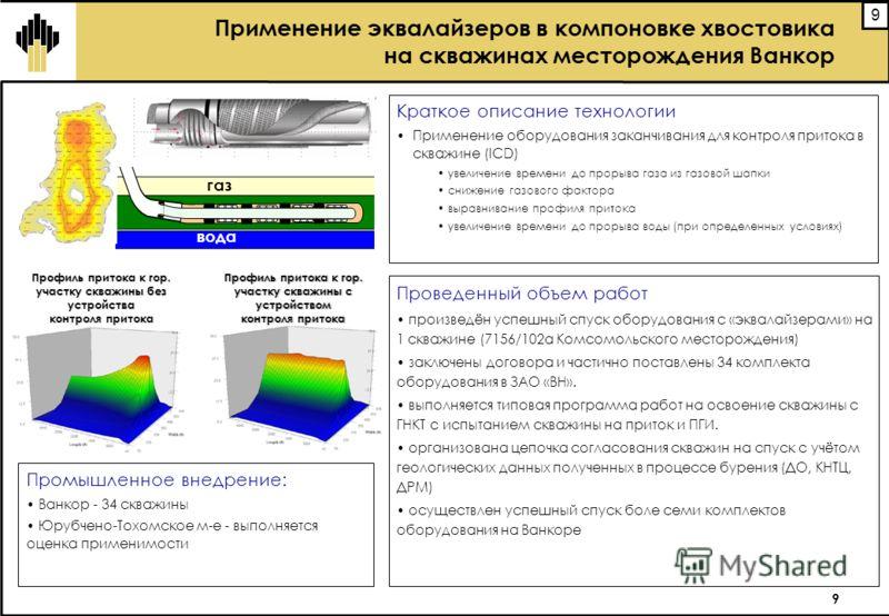 9 9 Проведенный объем работ произведён успешный спуск оборудования с «эквалайзерами» на 1 скважине (7156/102а Комсомольского месторождения) заключены договора и частично поставлены 34 комплекта оборудования в ЗАО «ВН». выполняется типовая программа р