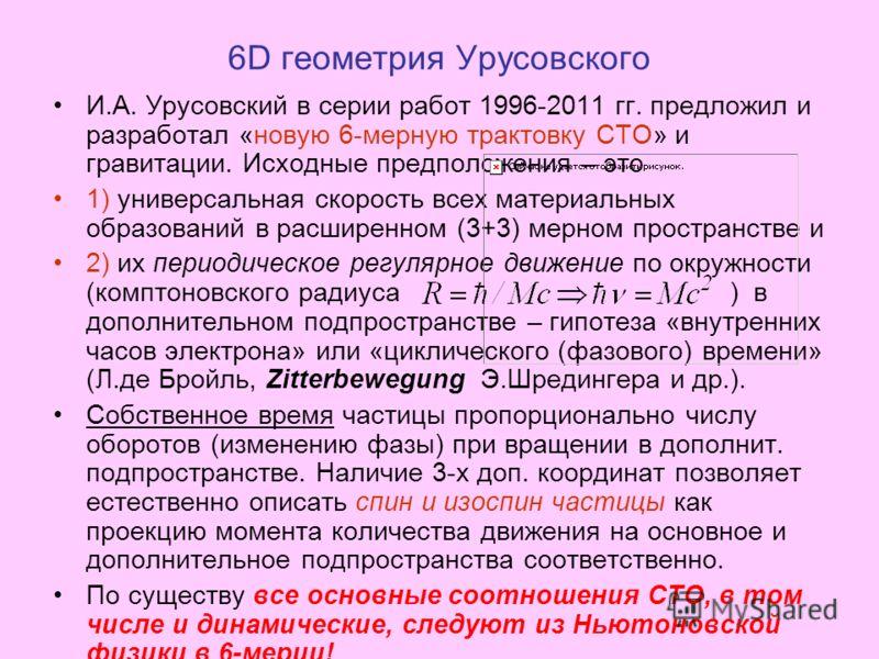 6D геометрия Урусовского И.А. Урусовский в серии работ 1996-2011 гг. предложил и разработал «новую 6-мерную трактовку СТО» и гравитации. Исходные предположения – это 1) универсальная скорость всех материальных образований в расширенном (3+3) мерном п
