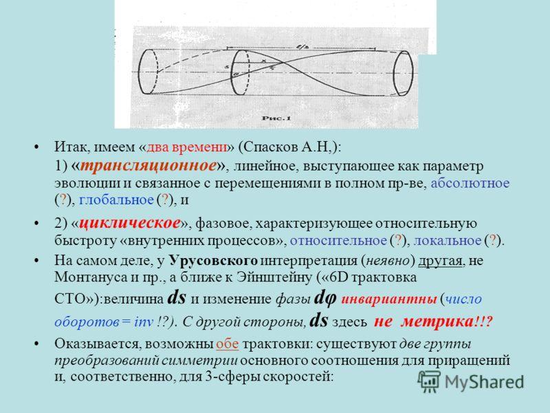Итак, имеем «два времени» (Спасков А.Н,): 1) «трансляционное», линейное, выступающее как параметр эволюции и связанное с перемещениями в полном пр-ве, абсолютное (?), глобальное (?), и 2) « циклическое », фазовое, характеризующее относительную быстро