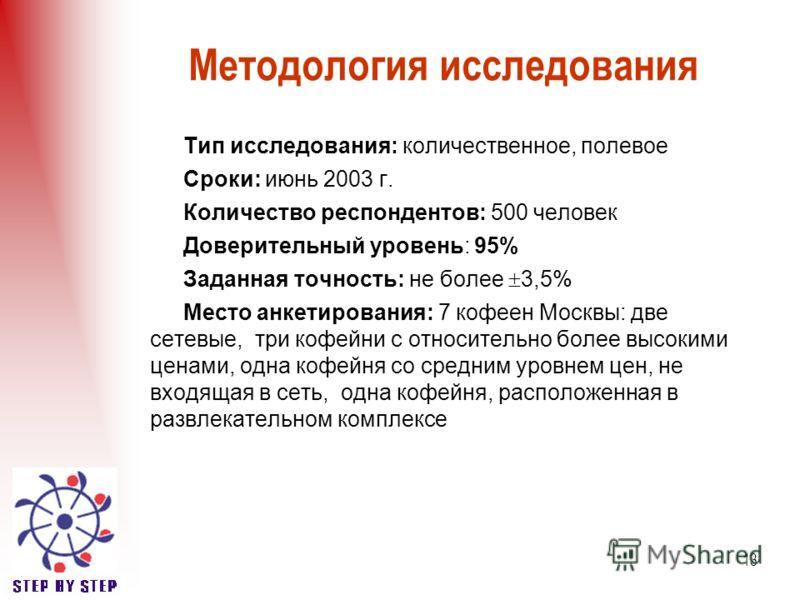 13 Методология исследования Тип исследования: количественное, полевое Сроки: июнь 2003 г. Количество респондентов: 500 человек Доверительный уровень: 95% Заданная точность: не более 3,5% Место анкетирования: 7 кофеен Москвы: две сетевые, три кофейни