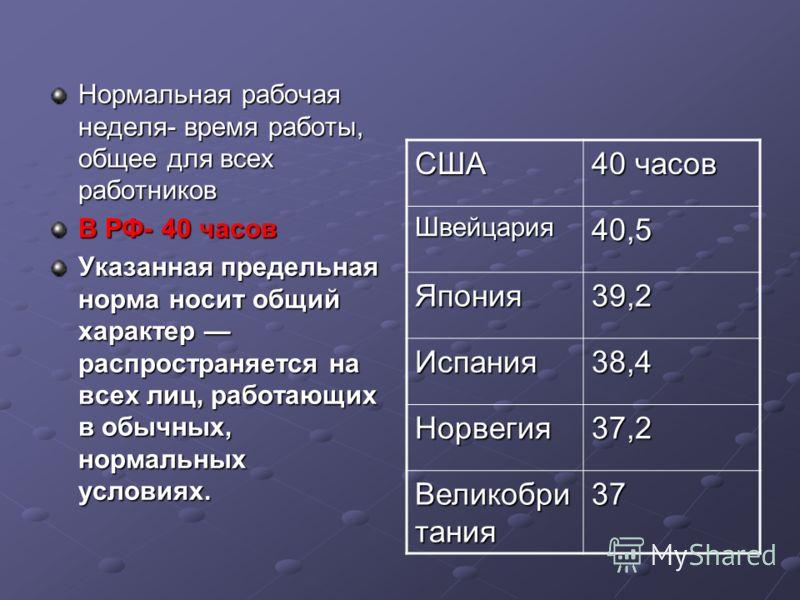 Нормальная рабочая неделя- время работы, общее для всех работников В РФ- 40 часов Указанная предельная норма носит общий характер распространяется на всех лиц, работающих в обычных, нормальных условиях. США 40 часов Швейцария40,5 Япония39,2 Испания38